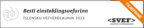 Tilnefning til Íslensku vefverðlaunanna 2013