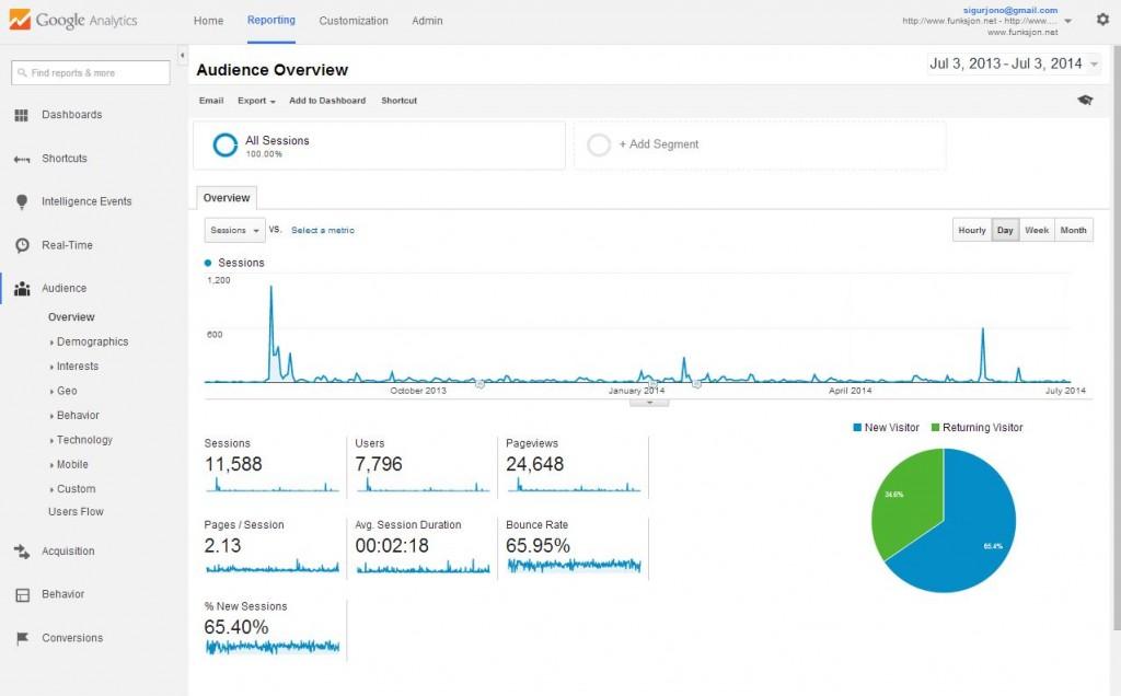 Skjámynd úr Google Analytics um umferð á funksjon.net
