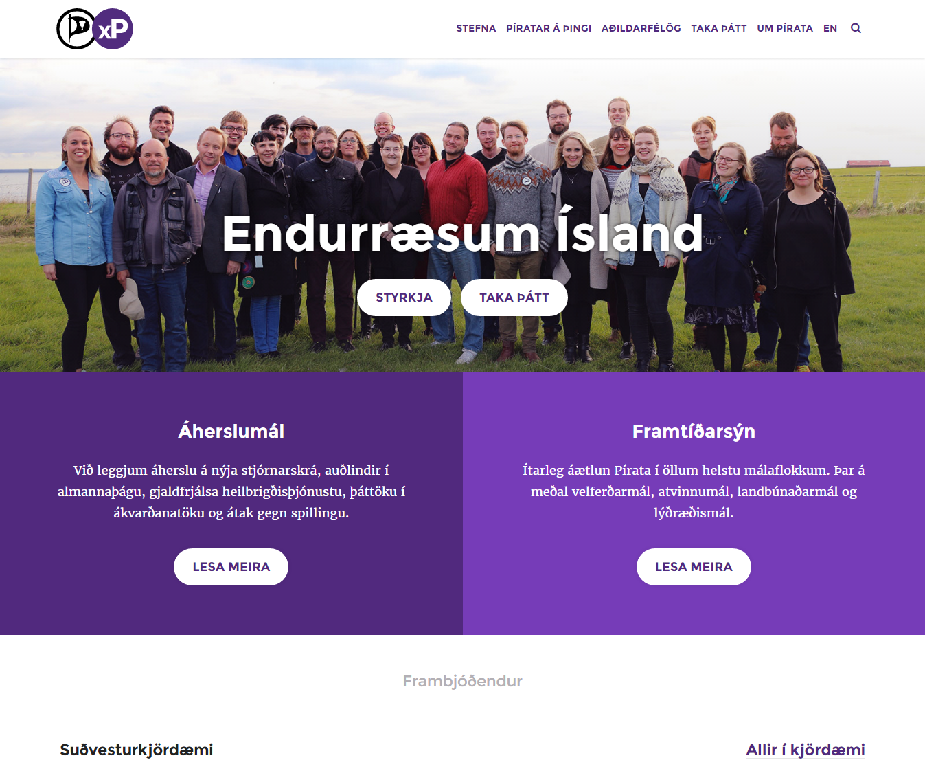Alþingiskosningar 2016 og vefir flokkanna